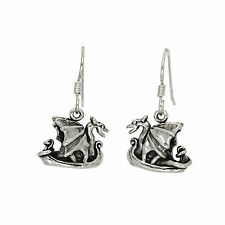 STERLING SILVER VIKING SHIP EARRINGS
