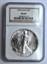 1999 NGC MS69 American Silver Eagle Dollar 1 Oz 999 Fine Silver Coin UNC Bullion