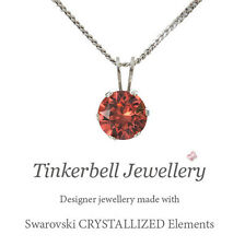 S Silver Necklace w 6mm Solitaire Swarovski Padparadscha Orange Crystal Pendant