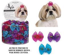 48pc DOG ROSE Center Flower Grooming HAIR SHEER RIBBON BOW&ELASTIC BAND*Top Knot