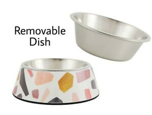 Whisker City® Bold Terazzo Melamine Cat Bowl Stainless Steel - 12 oz Food Water