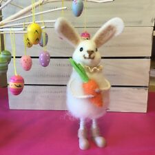 21cm Wool Easter Bunny Standing Figure Holding Carrot Gisela Graham Rabbit