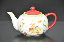Ceramic Christmas Teapot with Reindeer Holiday Home Decor Tea Cup