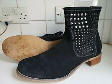 ALDO WOMENS BLACK SUEDE LEATHER FLAT ANKLE STUDDED BOOTS SIZE UK 7/8 EU 41