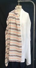 Ella Moda Linen White Striped Waistcoat Lagenlook One Size 12-18+