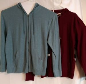 New PD&C Zip Up Hoodie Jacket 2XL Heathered Burgundy & Blue Grey Lot of 2