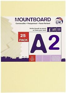 25 x  A2  Ivory Card 480gsm Beer Mat Craft Pulp Board for Mounting & Model