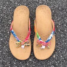 Vionic Bella Floral Thong Ortho Sandals Size 6.5 Flip Flops EUC
