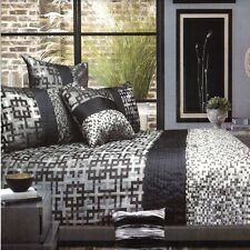 GALAXY Queen Quilt Cover Set Grey Black GEOMETRIC Jacquard Doona Duvet Polyester