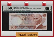 "TT PK 187b 1970 (1974) TURKEY 20 LIRA ""PRESIDENT K."" PMG 66 EPQ GEM UNCIRCULATED"