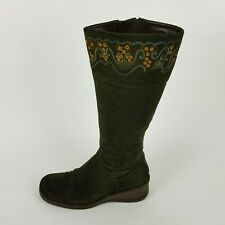 Clarks Ladies Suede Leather Embroidery Western Wedge Knee High Boots UK 5.5
