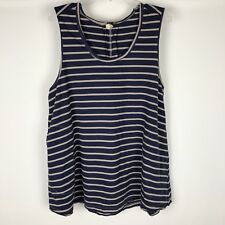 We the Free Striped Sleeveless Top Size M Blue Gray Swing Pockets Shirt