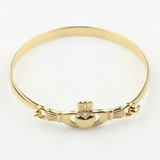 Womens Gold Stainless Steel Irish Claddagh Promise Friendship Bangle Bracelet