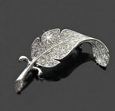 Men Women Quality Feather Leaf Silver Rhinestone Brooch Pin Gift Wedding Prom AG