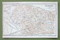 1903 MAP ORIGINAL Baedeker - ITALY Cremona City Plan