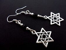 A PAIR STAR OF DAVID DANGLY  EARRINGS WITH 925 SOLID SILVER HOOKS. NEW..