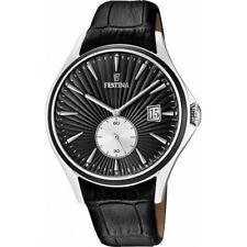 Festina men's F16980/4 Black Strap Steel Case Big date Vintage Look Watch