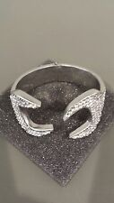 MOSCHINO COUTURE JEREMY SCOTT Construction Wrench Embellished Silver Bracelet