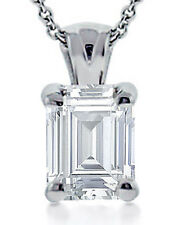 0.90 ct Emerald Cut Diamond Solitaire Pendant Necklace With 16 inch Chain 18 kt