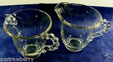 Vintage Imperial Clear Glass Ohio CANDLEWICK Open Sugar Bowl & Creamer Set of 2