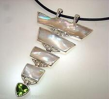 Marta Howell Sterling Silver Mother of Pearl Shells Peridot Pagoda Pendant