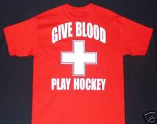 GIVE BLOOD PLAY HOCKEY Red T-Shirt Men's X-LARGE XL