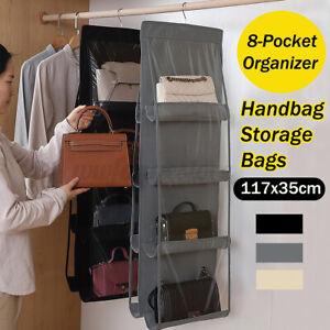 8 Pocket Double-sided Bag Handbag Storage Holder Hanging Organizer Shelf