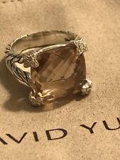 David Yurman Morganite Cushion On Point Diamond Ring Size 8