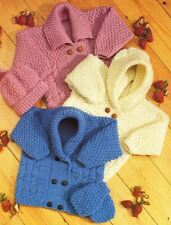 Knitting Pattern Baby/Child's Aran Cable Cardigans & Mittens 41-61 cm  (101)