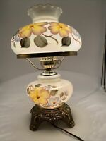 """VTG 1970 EF EF Industries Lag. 18"""" Hurricane Lamp with Yellow/Blue Flowers 3-way"""
