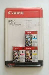 Canon BCI-6 3 Color Ink Tanks Genuine Cyan Magenta Yellow New & Sealed