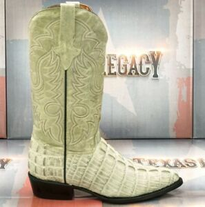 Mens Western Boots Crocodile Tail Pattern Cowboy Rodeo Genuine Leather J Toe
