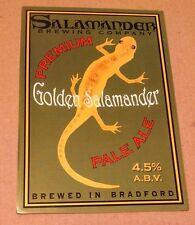 Beer pump badge clip SALAMANDER brewery GOLDEN cask ale pumpclip front Bradford