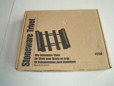 PAMPERED CHEF Adjustable Wood Trivet Checkered Stoneware Holder #2130 New In Box