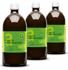 EM-A, effektive Mikroorganismen, 3 x 1 Liter Flasche EM-Aktiv, Garten, Teich