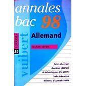 Collectif - Annales 1998, allemand, bac, numéro 39, corrigés - 1997 - Broché
