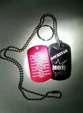 Mother's Day Gift Military Dog Tags (2) with Rockstar Mom, I Love You, & Poem