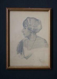 Theodore Bolton American Artist 1921 Sketch/Pencil Study Woman's Portrait
