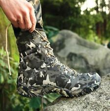 Mens Camouflage Lace Up Military Ankle Boots Desert Combat High Top Shoes