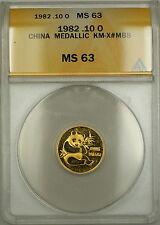 1982 China (10 Yuan) Gold Panda Medal 1/10 oz KM-X#MB8 ANACS MS-63 *Scarce*