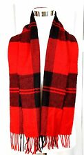 "ITALY CLASSIC RED BLACK TARTAN 100% LAMBSWOOL FRINGE NECK WRAP SCARF Sz 12""x58"""