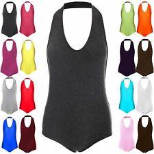 Ladies Womens Sleeveless Plunge Neck Halter Basic Stretchy Bodysuit Leotard Top