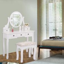Vanity Jewelry Makeup Dressing Table Set Oval Mirror Stool Desk