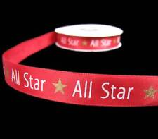 "5 Yds All Star Sports Scrapbook Red Satin Ribbon 5/8""W"