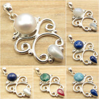925 Silver Plated FRESH WATER PEARL & Other Gemstones Pendant FASHION Jewelry