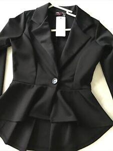Ladies Black Peplum Jacket New Tags Size 8 £10 Was £40 Last One