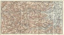Carta geografica antica VALLI MAIRA GRANA STURA CUNEO 1914 Old antique map