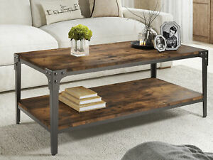 Amolife Industrial Coffee Table with 2-Tier Storage Shelf for Living Room