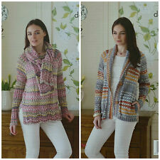 KNITTING PATTERN Ladies Jacket with Side Pockets, Long Jumper & Scarf DK 4546