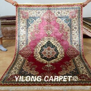 YILONG 4'x6' Hand Knotted Silk Carpet Pink Oriental Bedroom Area Rug 0119